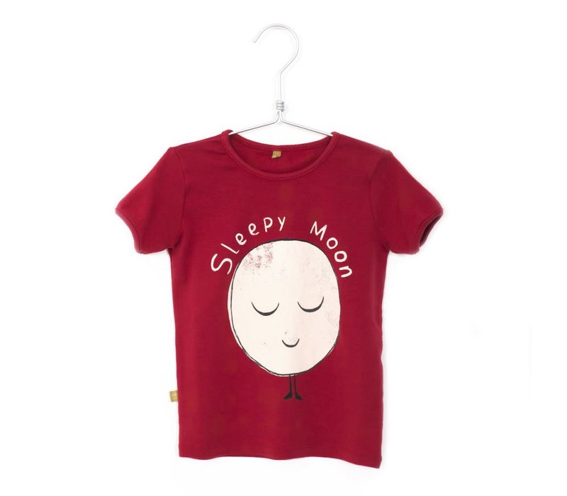 Lotiekids Retro Tshirt short sleeve Sleepy Moon Washed Red