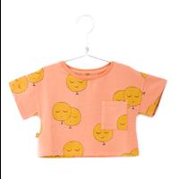 Lotiekids  Crop Short Sleeve Sweatshirt Salmon