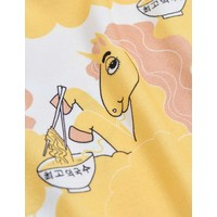 Mini Rodini Unicorn noodles aop ss tee yellow