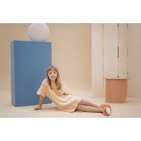 Repose AMS  3. tee shirt dress, marigold sand block stripe