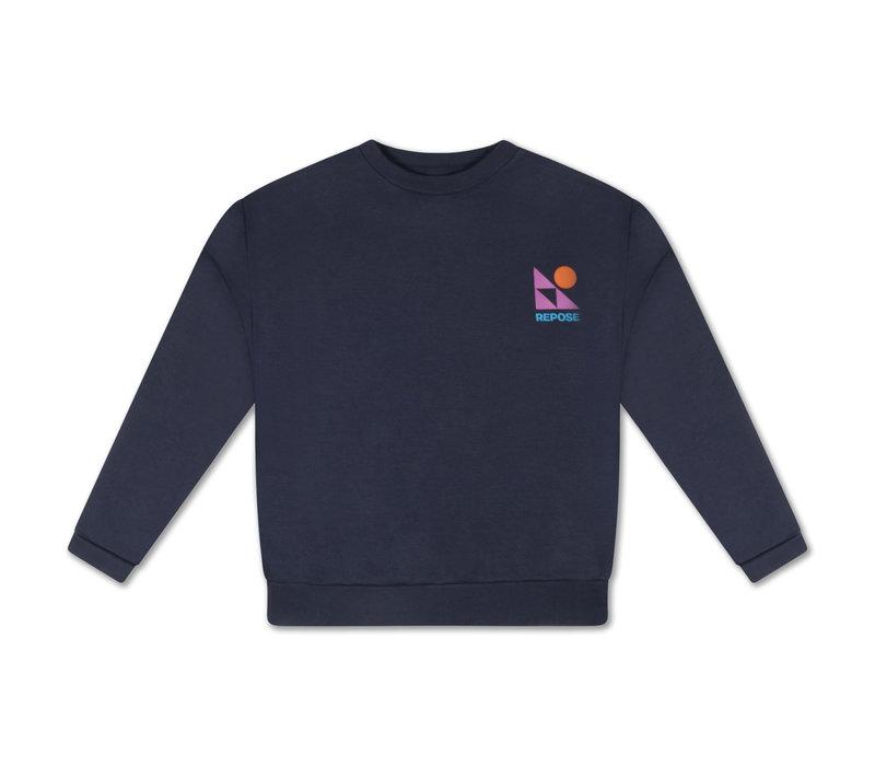 Repose AMS 10. Crewneck Sweater, dark night blue