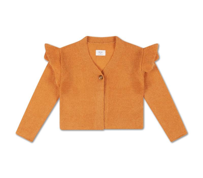 Repose AMS 46. Knit Ruffle Cardigan, dusty peach