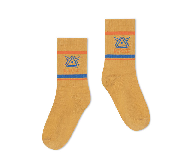 Repose AMS 50. Sporty Socks, caramel logo
