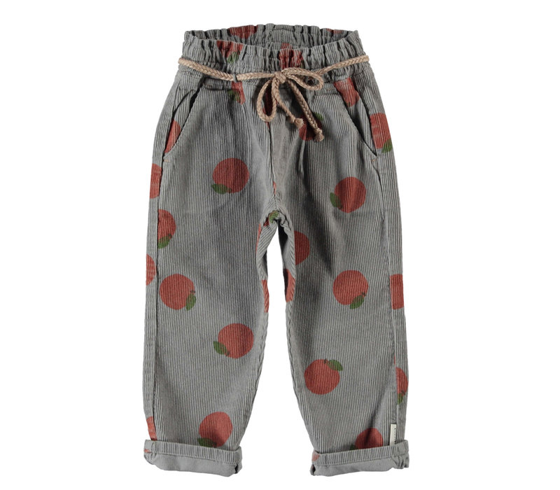 Piupiuchick Trousers with belt Grey with Peaches AOP