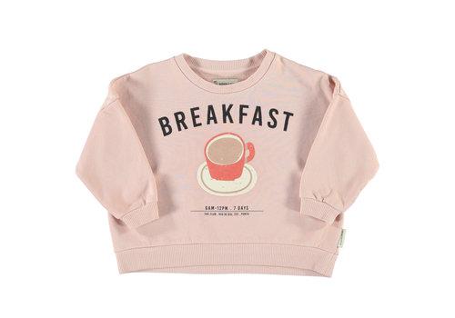 PIUPIUCHICK Piupiuchick Unisex sweatshirt Light Pink with Breakfast Print