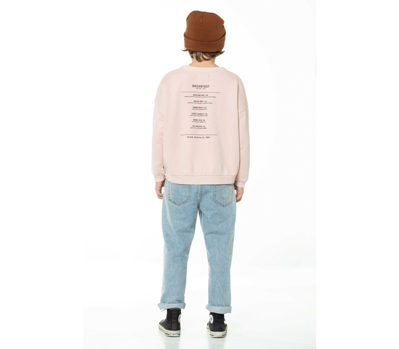 Piupiuchick Unisex sweatshirt Light Pink with Breakfast Print