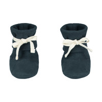 Gray Label Baby Ribbed Booties Blue Grey