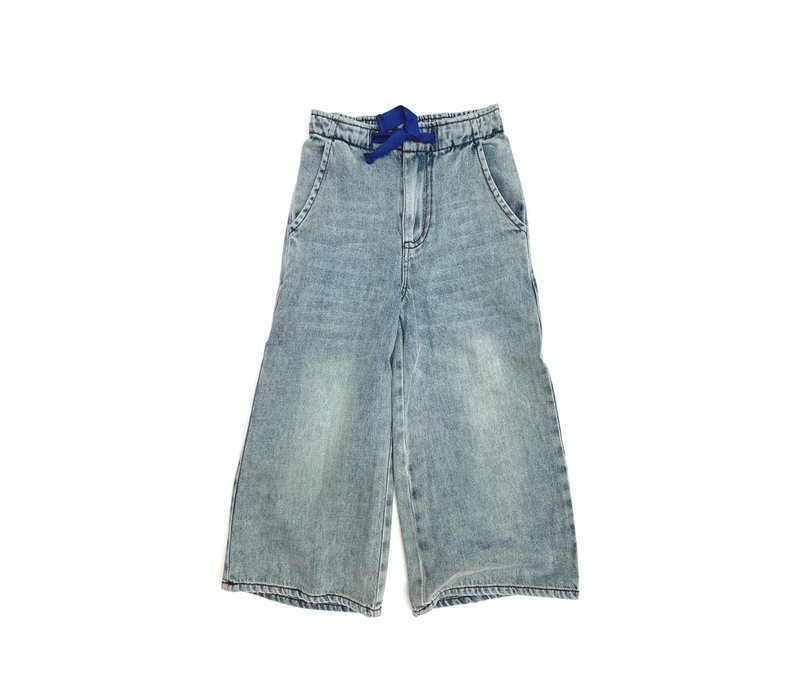 LONGLIVETHEQUEEN Wide Leg Jeans Faded Denim