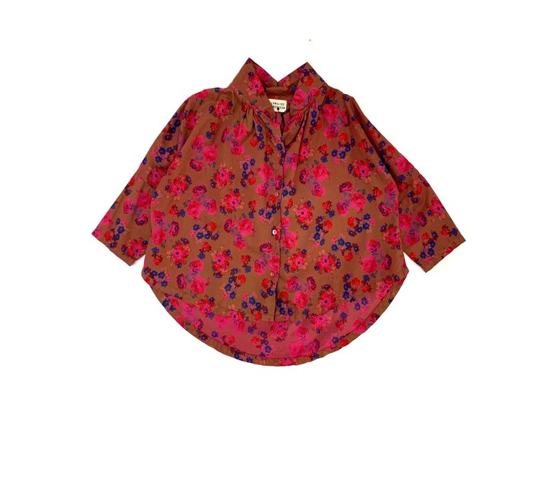 LONGLIVETHEQUEEN Collar Blouse Bright Pink Flower