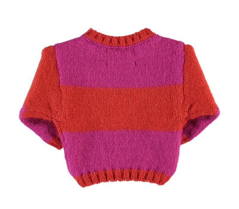 Piupiuchick Knitted Sweater Pink & Orange Stripes