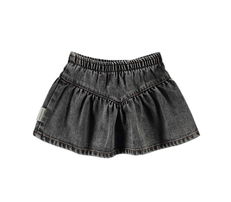 Piupiuchick Short Skirt Washed Black Denim