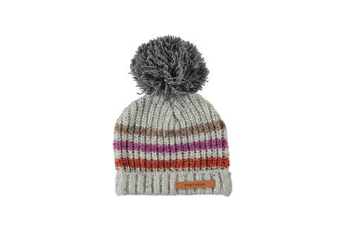 PIUPIUCHICK Piupiuchick knitted hat grey w/ muiticolor stripes and dark grey pompon