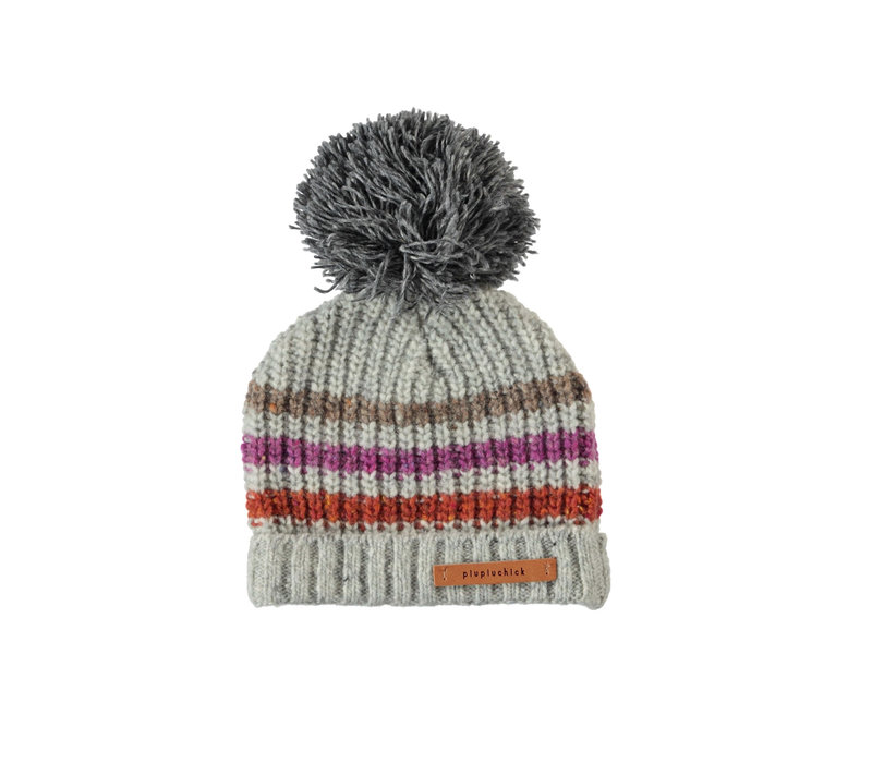 Piupiuchick knitted hat grey w/ muiticolor stripes and dark grey pompon