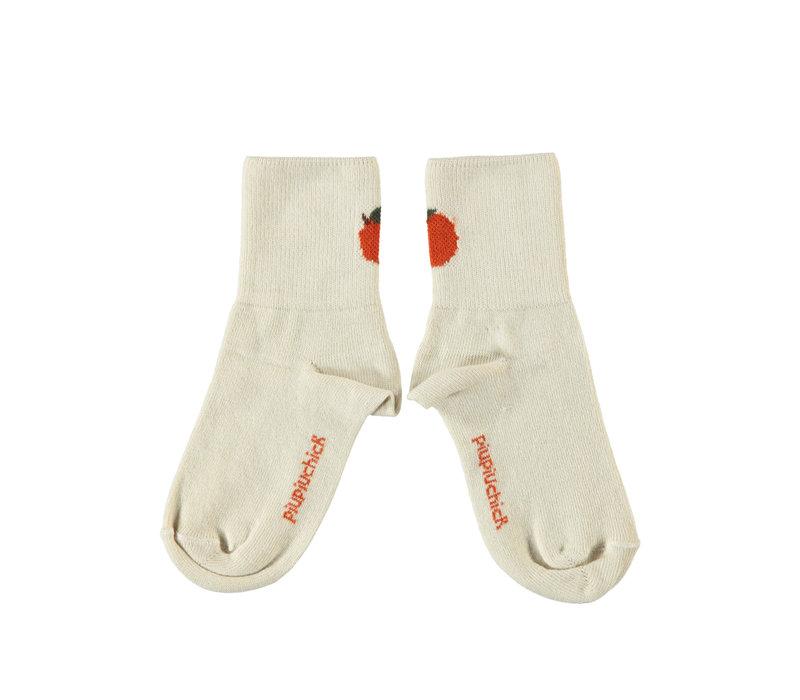 Piupiuchick short socks ecru w/ peach detail