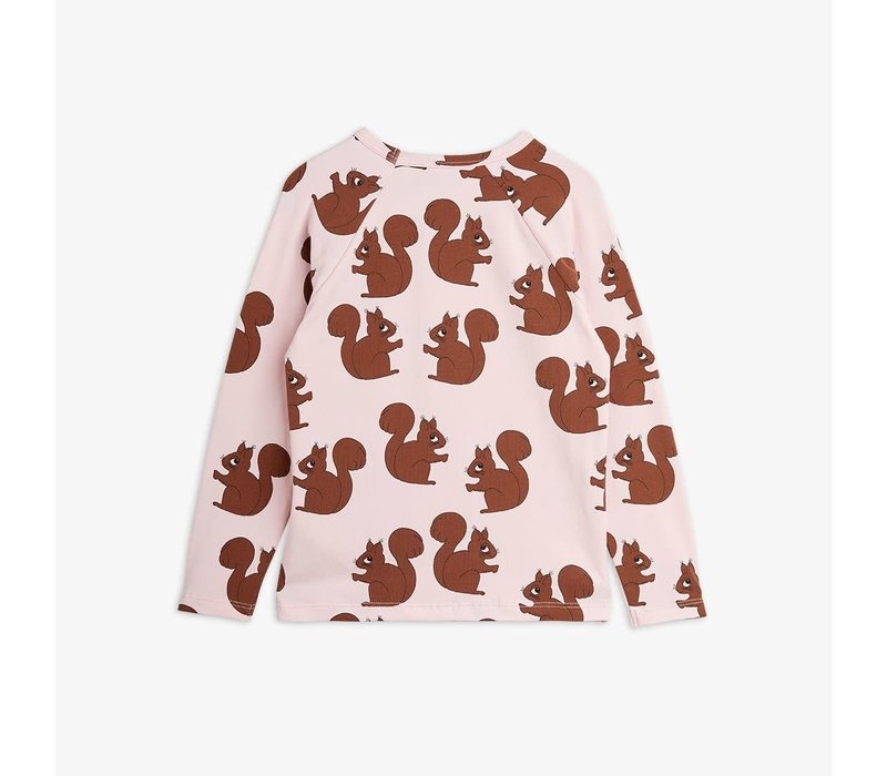 Mini Rodini Squirrel AOP Raglan LS tee Pink