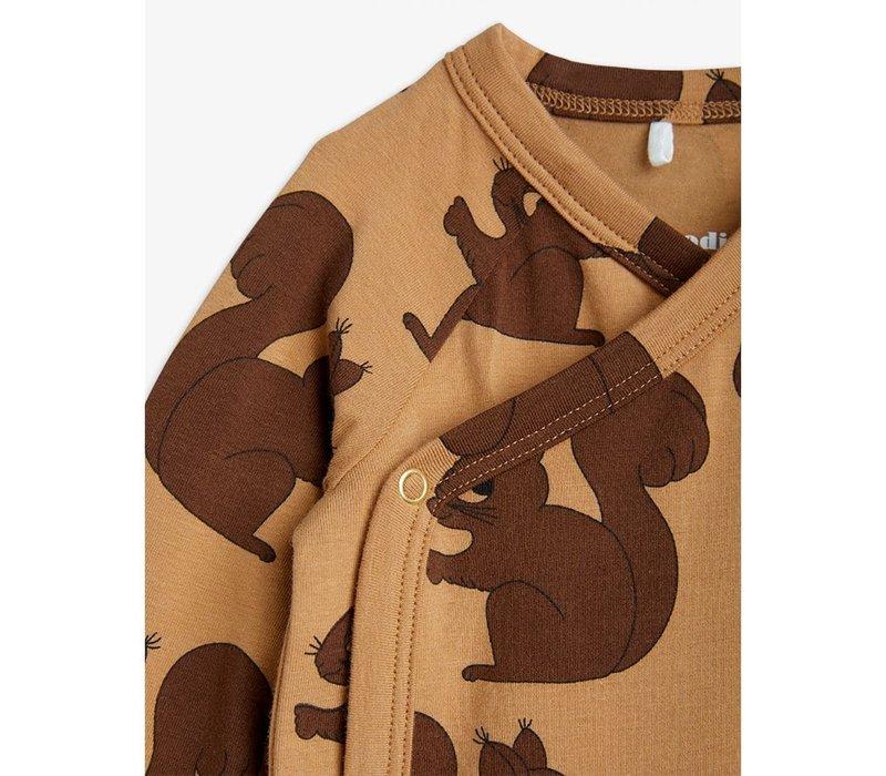 Mini Rodini Squirrels Aop Wrap Body Brown