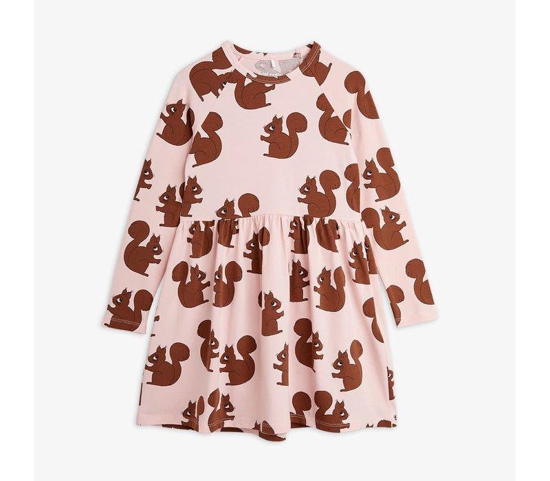 Mini Rodini Squirrel AOP LS Dress Pink