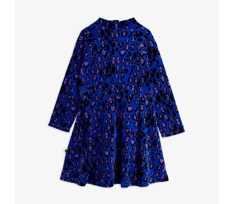Mini Rodini Leopard Velour Dress Blue