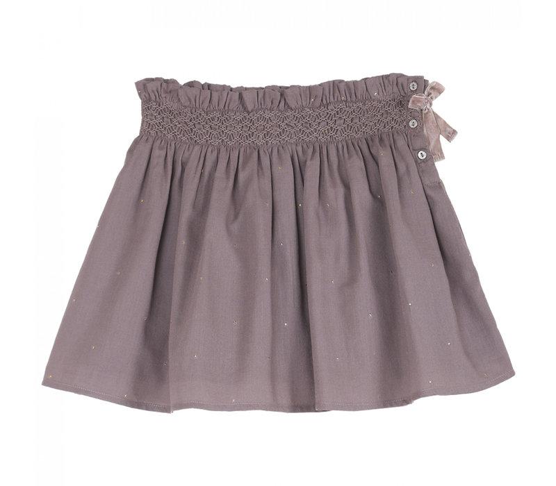 Emile et Ida Auburn Crepe Cotton Short Skirt Lavande
