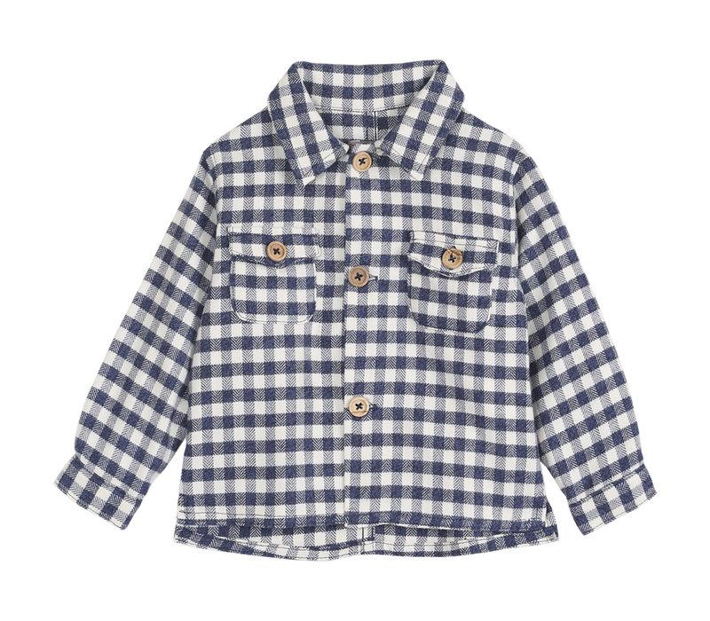 Emile et Ida Blue Checked Flannel Overshirt