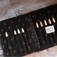 Emile et Ida Daffodil Quilted Velvet Pencil Case