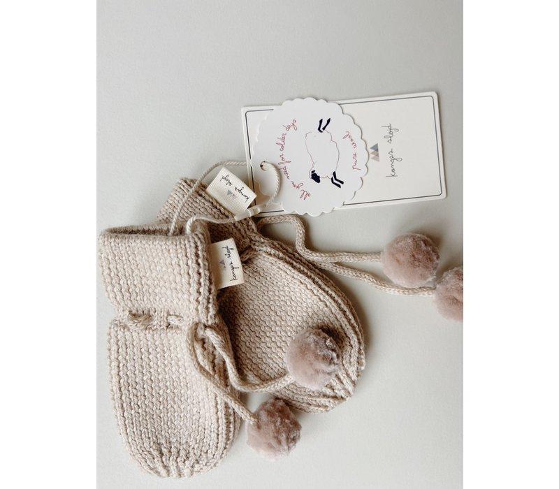 Konges Slojd Miro Knit Mittens White Cream Melange