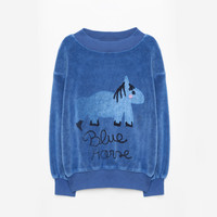 Weekend House Kids Blue Horse Soft Sweatshirt