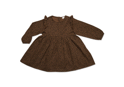 Petit Blush Petit Blush JULIE RUFFLE DRESS BROWN LEOPARD AOP