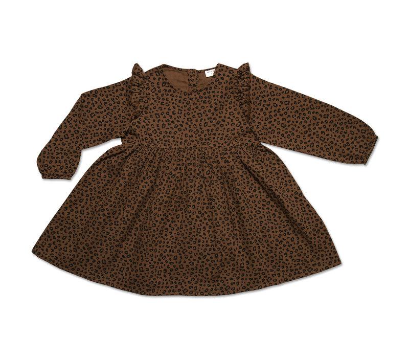 Petit Blush JULIE RUFFLE DRESS BROWN LEOPARD AOP
