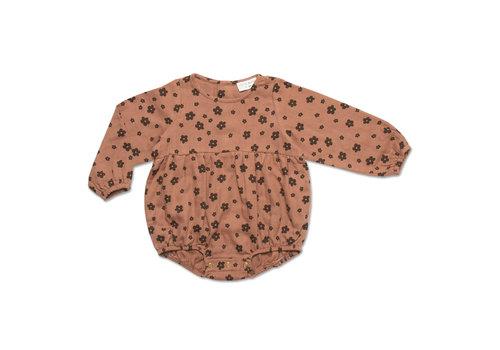 Petit Blush Petit Blush TEDDIE PLAYSUIT   BROWN FLORAL AOP