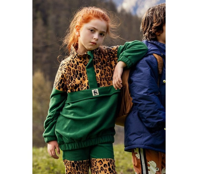 Mini Rodini Leopard Fleece zip Pullover