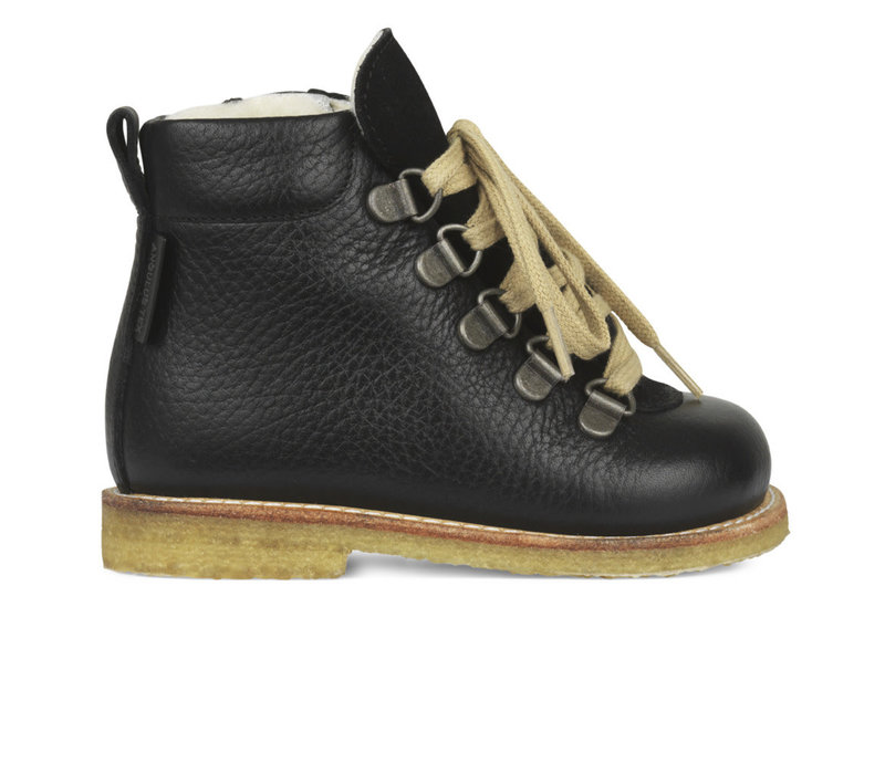 Angulus Basic Lace-up Boots with zipper Black 9205 101