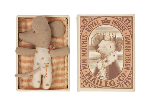 Maileg Maileg Baby mouse, Sleepy/wakey in matchbox - Girl