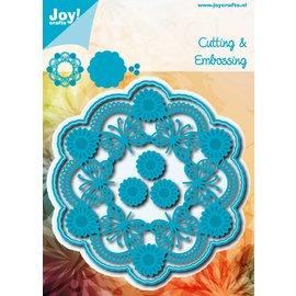 Joy!Crafts Snij-embosstencil - Cirkel Vlinder + Bloemen