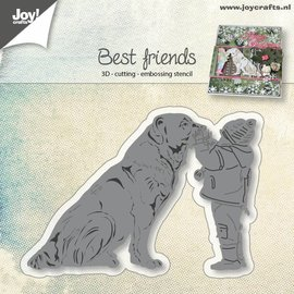 Joy!Crafts Snij-embos-debosstencil - Hond met kind