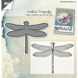 Joy!Crafts Snij- embosstencil + stempel - Endless libelle