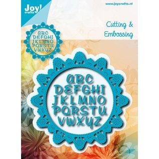 Joy!Crafts Snij-embosstencil - Blauwe bloemcirkel met alfabet