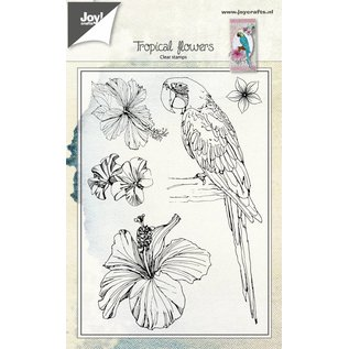 Joy!Crafts Clearstempel - Papagaai en bloemen