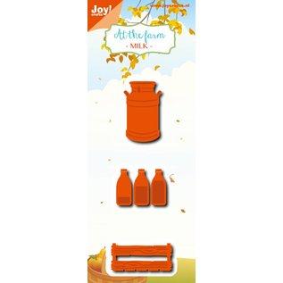 Joy!Crafts Snij-embosstencil- At the farm - Melkbus-fles-krat