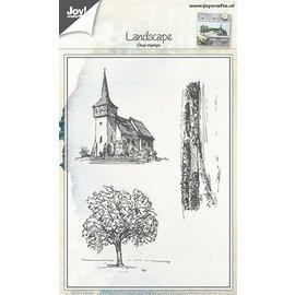 Joy!Crafts Stempel - Tafereel kerk, boom, landschap