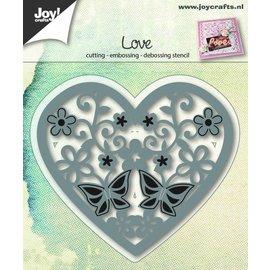 Joy!Crafts Snij-embos-debosstencil - Hart met bloemen/vlinder