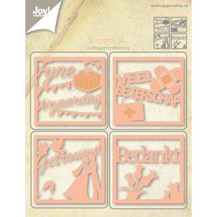 Joy!Crafts Snij-embos- en debosstencil tekst vierkantje (4st)