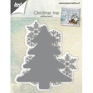 Joy!Crafts Snijstencil kerstboom met sneeuwvlokken