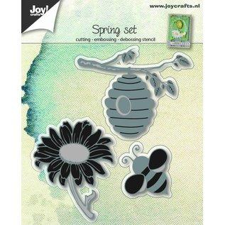 Joy!Crafts Snij-embos-debosstencil - Bij, korf & zonnebloem