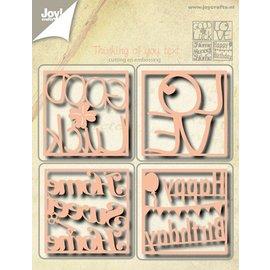 Joy!Crafts Snij- en embos stencils (4st) Eng. tekst vierkant