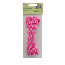 Joy!Crafts Paracord rose-fuchsia-wit 5 mtr