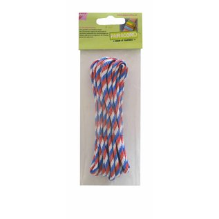 Joy!Crafts Paracord rood/wit/blauw 5 m