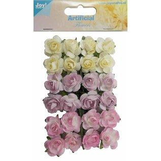 Joy!Crafts Artificial Flower - Roosjes l.geel/lila/rose