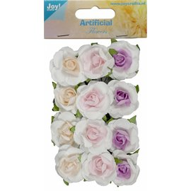 Joy!Crafts Artificial Flower - Roosjes kern zalm/rose/lila