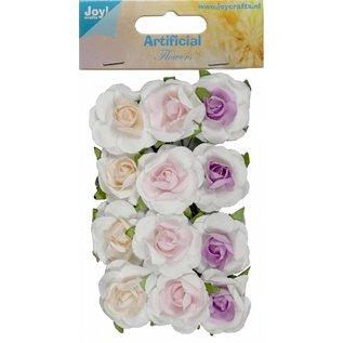 Joy!Crafts Artificial Flower - Roosjes kern zalm/rose/lila